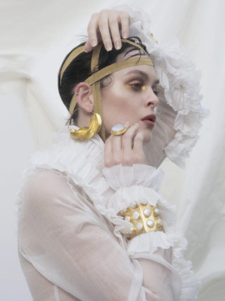 Elizabeth by Elizabeth Emanuel the Designer White cotton organdie shirt with ruffles