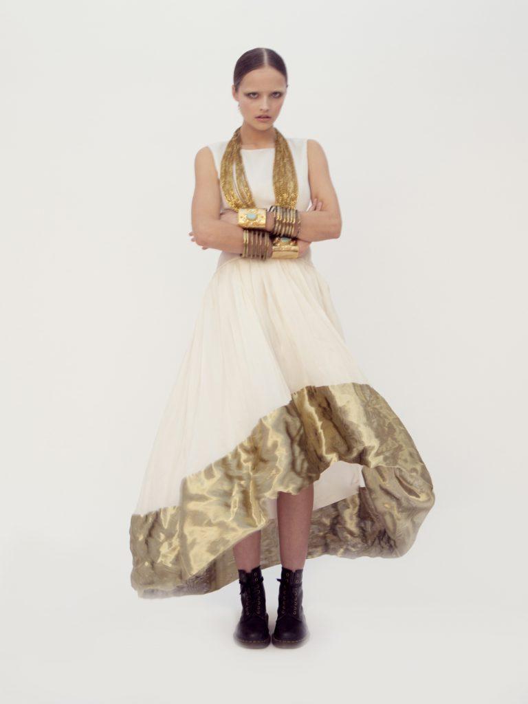 "Elizabeth by Elizabeth Emanuel the Designer Evening Dress Red Carpet in ivory French silk satin backed organza. New Paris 1902 silhouette. Hem of ""liquid"" gold metallic fabric creates runched effect"