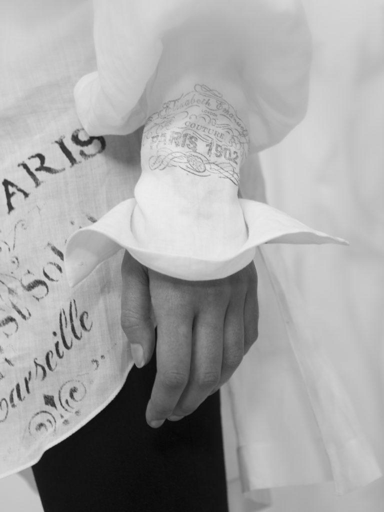 Elizabeth by Elizabeth Emanuel the Designer Shirt hand stencilled and stamped.
